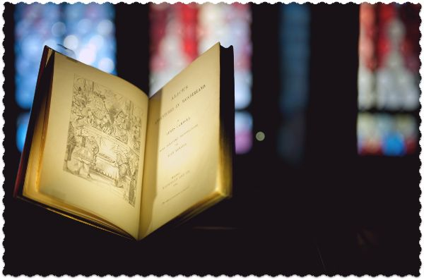 """First edition of """"Alice's Adventures in Wonderland"""" by Lewis Carroll, London, 1865.  Part of the new exhibition on Fairy Tales, Magic & Trudi Gerster at the Swiss National Exhibition, Zurich. On loan from the Fondation Martin Bodmer in Cologny, Geneva. © Swiss National Museum."""