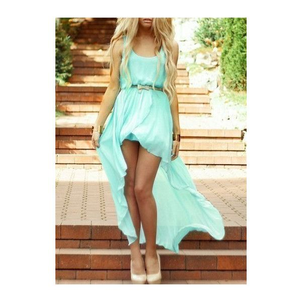 Rotita High Low Hem Sleeveless Light Blue Chiffon Dress (25 CAD) ❤ liked on Polyvore