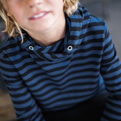 Jersey hood - striped blue denim