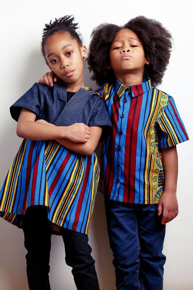 Cute ankara kids boys and girls African print childrenswear.