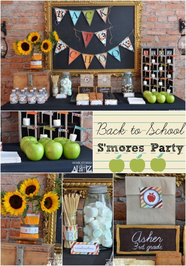 Back to school party s is for s 39 mores back to holiday for Back to school decoration ideas