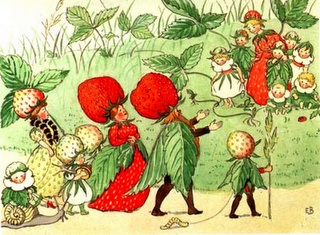 the strawberry family takes a stroll. by elsa beskow.