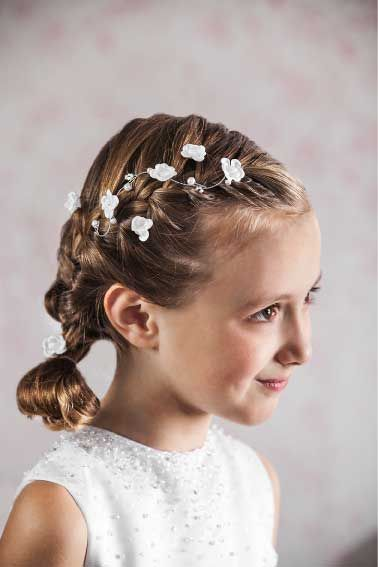 Communion Hair Vine - Floral and Beaded Hair Wire for First Communion Hairstyles - Emmerling 77378 - Floral White Flowers Pearls and Crystals - hair