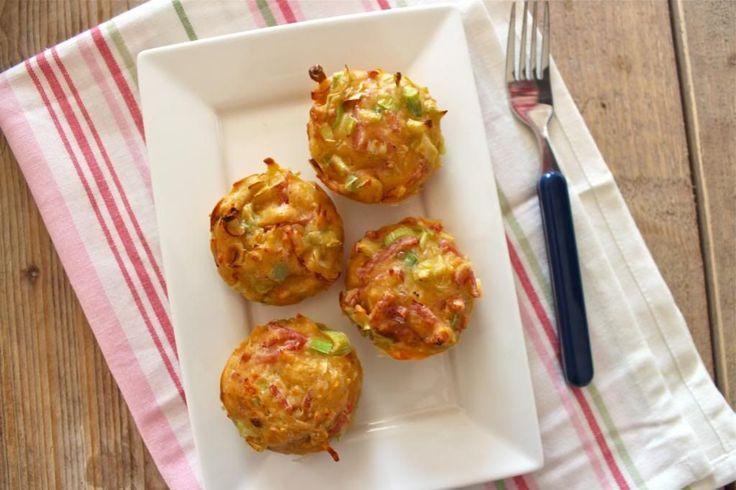 Hartige muffins met ham, kaas en prei - Lekker en Simpel