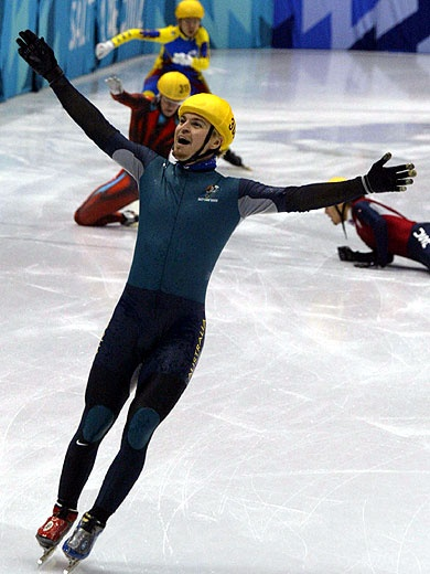 Steven Bradbury won Australia's first ever Gold Medal in the Winter Olympics after the other four competitors collided at the final turn during the 1000 metres Short Track Speed Skating event at Salt Lake City in 2002.