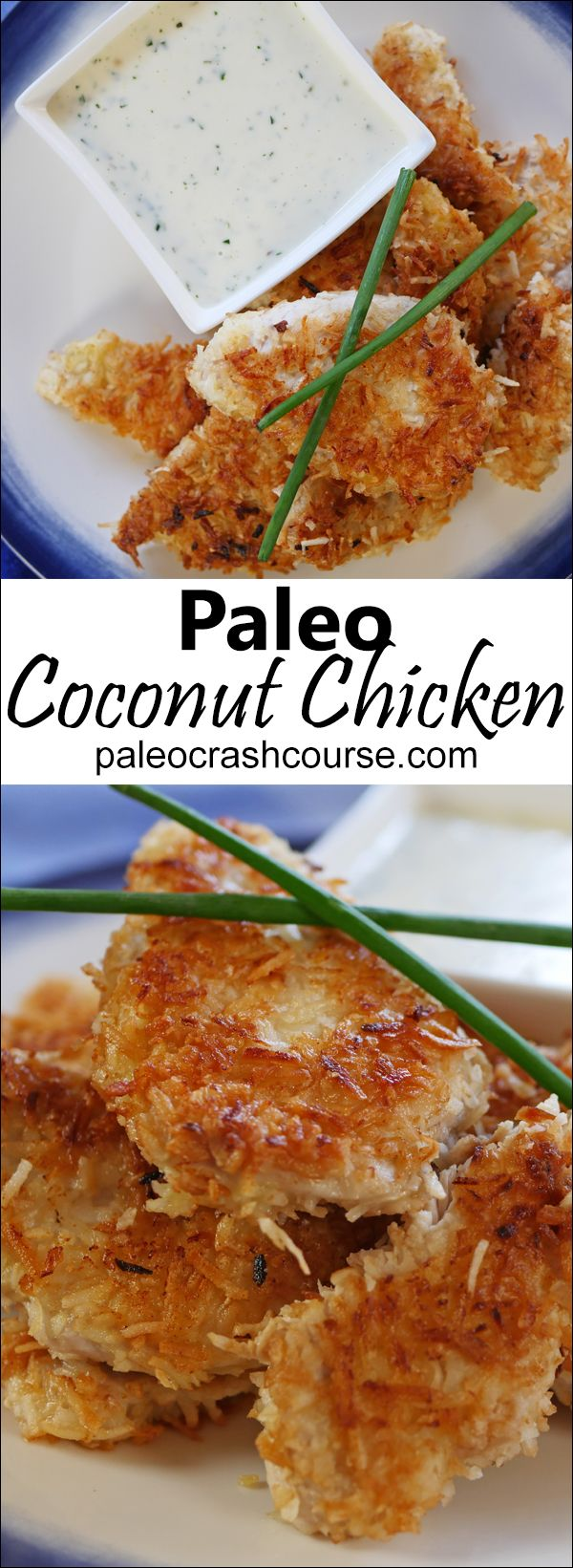 Delicious crunchy strips of coconut chicken that you can either fry or bake! Goes amazing with some paleo friendly ranch dressing or in a salad.                                                                                                                                                                                 More