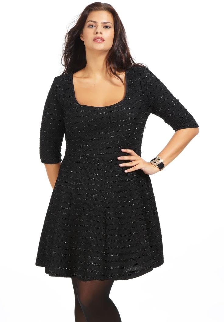 Robe grande taille Patineuse noir, robe grande taille - Scarlett