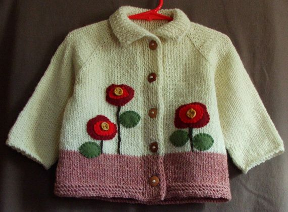 Wool Baby Girl Cardigan  12 Month Size Sweater by SilverMapleKnits, $39.95