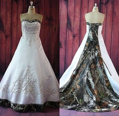 Y Camo Wedding Dresses Camouflage Lace Up Bridal Gowns Custom