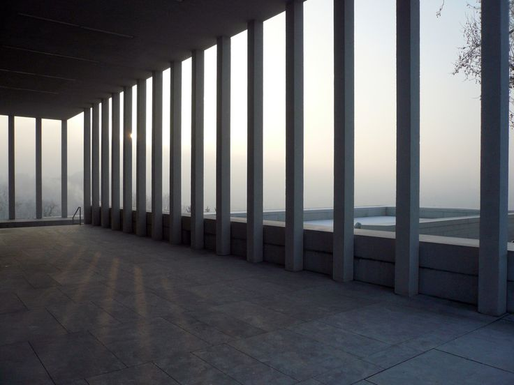 View from inside the collonade of the Literature museum in Marbach am Neckar by David Chipperfield.