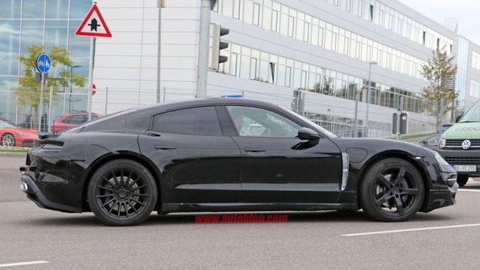 Porsches Mission E caught testing alongside Tesla vehicles