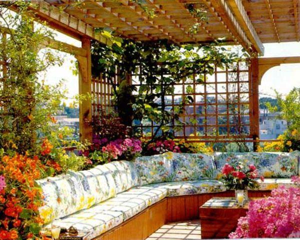Decoration de toit terrasse avec de belles plantes en pots et grimpantes