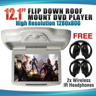 """12.1"""" DVD Player In Car Roof Mount Flip down Monitor 32 Bits Games"""