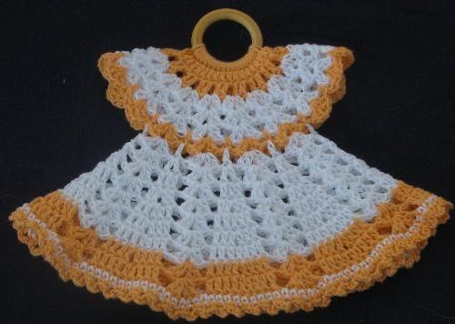 crocheted dress potholder