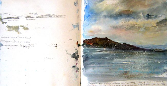 Evening Sketch Loch Lomond, Amanda Hoskin's sketchbook