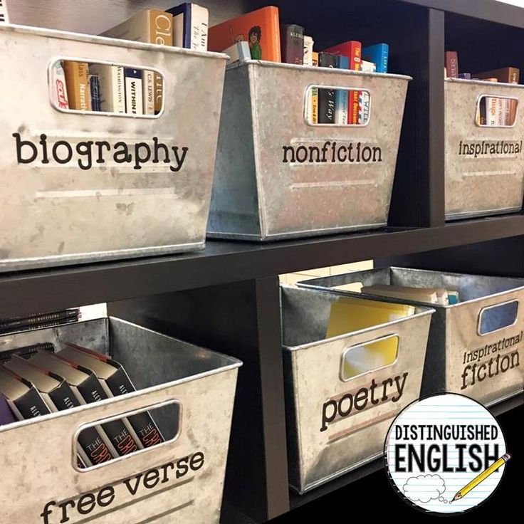 Use galvanized bins to organize a classroom library! (Distinguished English)