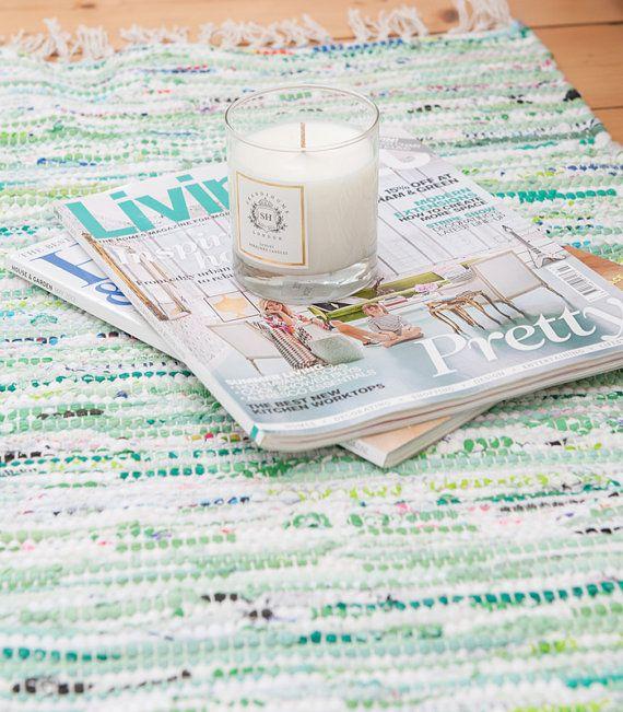 Green mix Swedish rag rug by Skandihome on Etsy