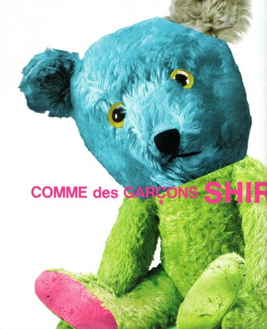 Here's a great bear in a Commes des Garcons ad in the Mar 2014 issue of Artforum.  I don't think the bear itself is for sale - it seems to be advertising their shirts.  But since the bear is not wearing a shirt, I'm not sure what their shirts look like, actually.  Definitely a cool bear, though.