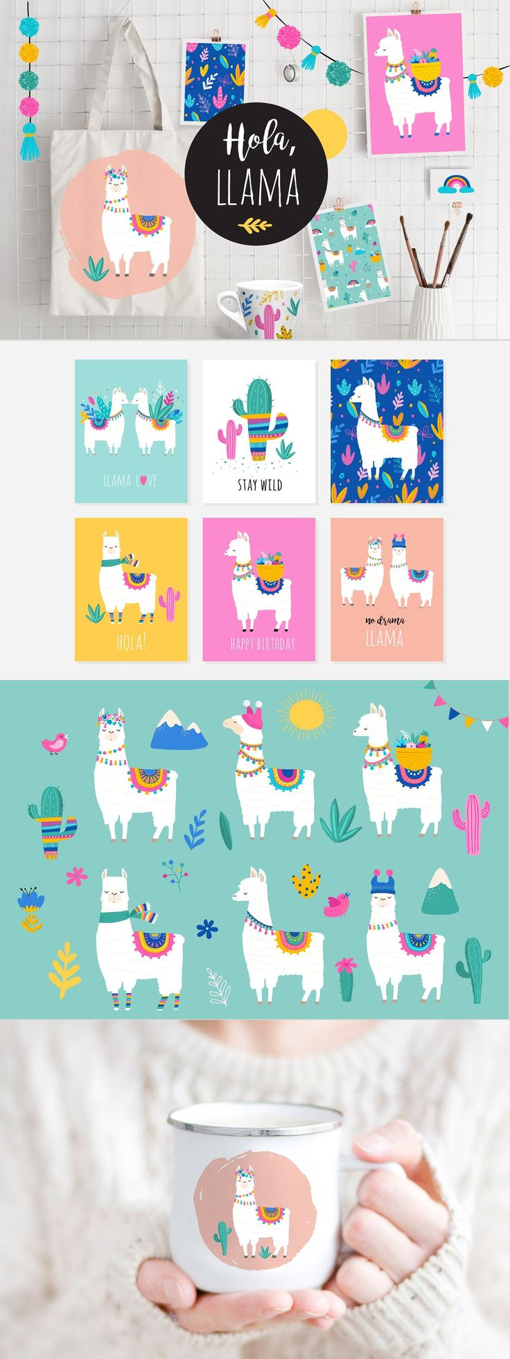Hola Llama! Cute summer collection summer trendy alpaca llama lama vibrant colorful pattern cactus cacti jungle leaf palm lovely sweet cute boho bohemian south america marish latin america nature card birthday flag fiesta love hola poster print sticker t-shirt kids baby notebook tattoo temporary girly animal doodle vector art background beautiful bright cartoon character childhood children cute llama decor decoration delicate design dot pattern dots drawing elements funny girl greeting hand draw