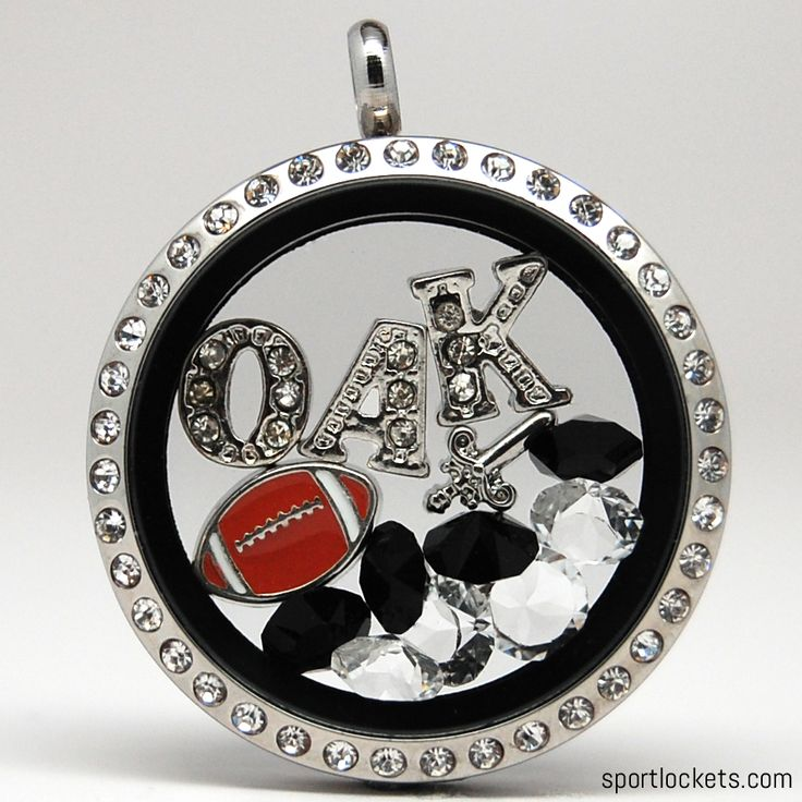 Oakland football themed locket necklace from SportLockets.com.  Customize this jewelry with your own letters!