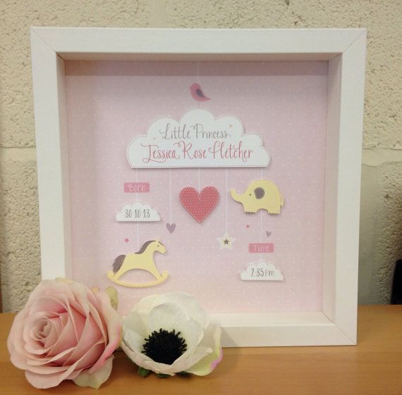 Baby Girl / Christening Personalised 3d print by NikkiWhistonInks, £27.00