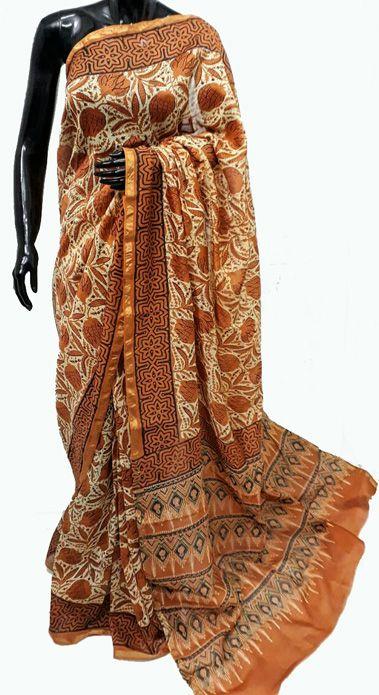 Orange Hand Block Printed Chanderi  Silk Saree