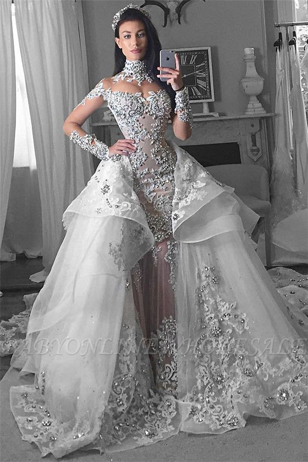 Glamorous Long Sleeves Tulle High Neck Bride Dresses Appliques Wedding Dresses with Detachable Overskirt qq0375