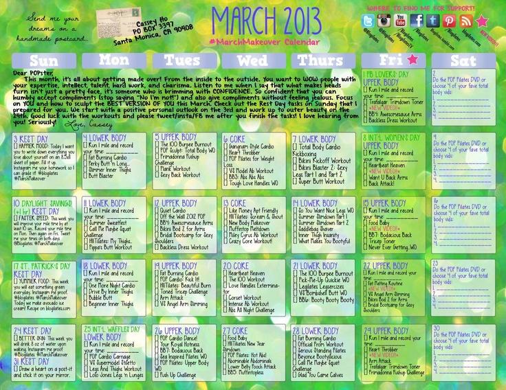 march 2013 blogilates calendar // fitness