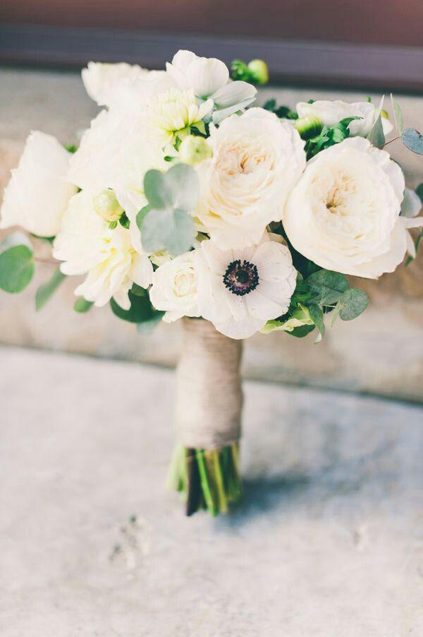 Hand Tied Wedding Bouquet Featuring: White English Garden Roses, White Spray Roses, White Chrysanthemums, White Anemones, Green Hypericum & Baby Blue Eucalyptus^^^^
