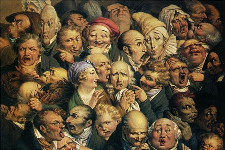Meeting of thirty-five heads of expression -  Honore Daumier