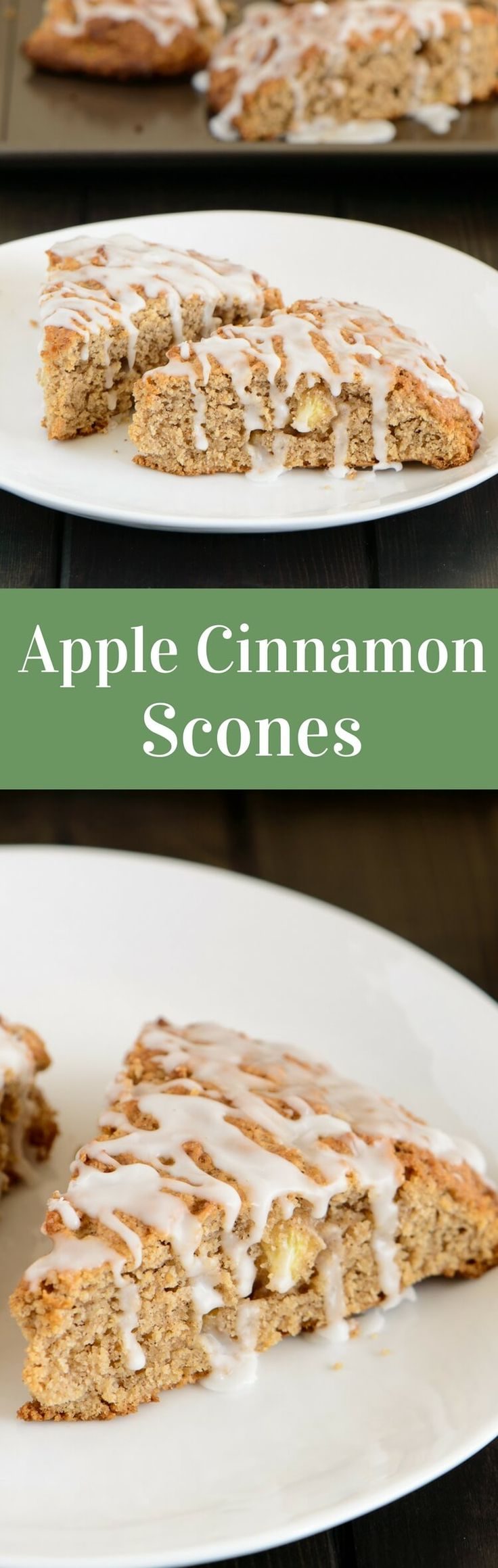 Light as air and crumbly, these apple cinnamon scones are packed with chunks of apple and spicy cinnamon.  via @introvertbaker