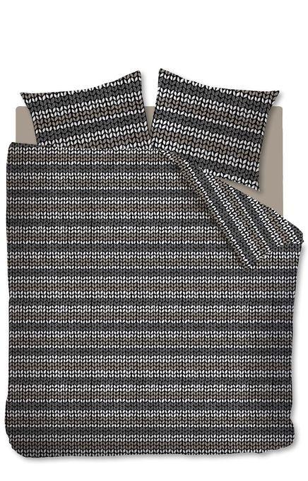 Antraciet Dekbedovertrek Striped Knit | V&D
