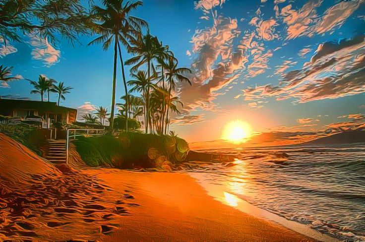 Sunset With Sea Wave Tap To See More Breathtaking Beach: Cartoon, Amazing
