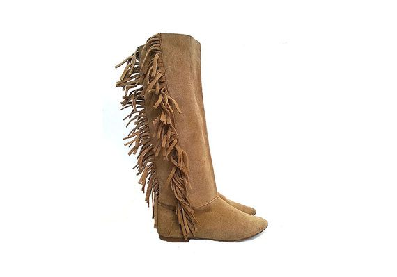 80s SLOUCHY suede pokahonta tall flat BOOTS by MeasureTheTreasure