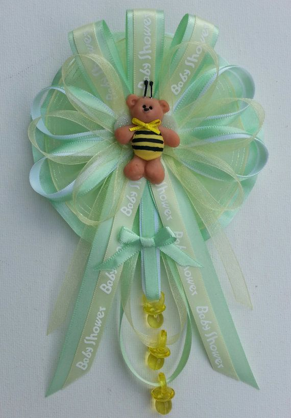 """Baby Shower Mommy corsage with teddy bear by Fancy Little Favors. """"Like"""" us on Facebook to see our other creations."""
