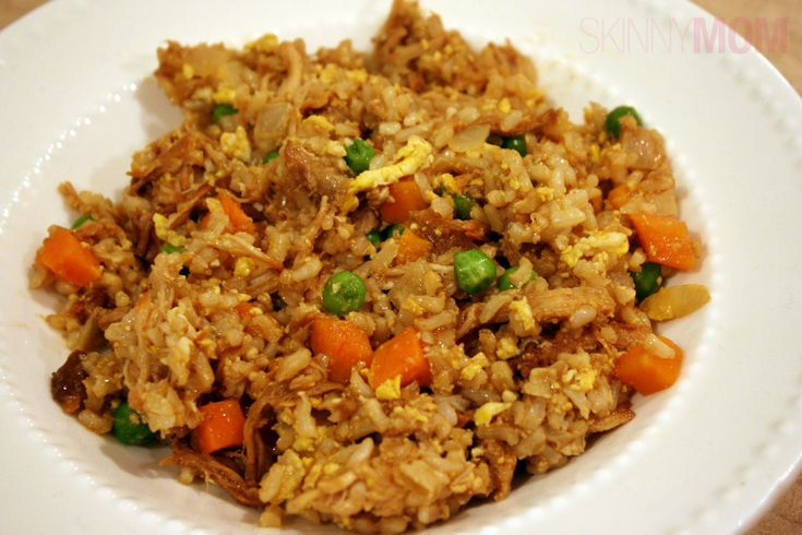 Skinny Chicken Fried Rice -- 4 c. cooked rice, 8 oz. cooked chicken, 1 c. frozen pea & carrots, 1 chopped onion, 2 cloves minced garlic, 2 eggs, oil, 1/4 c. lite soy sauce. Heat oil and veggies, stir in eggs, add chicken, rice and soy sauce. Easy!