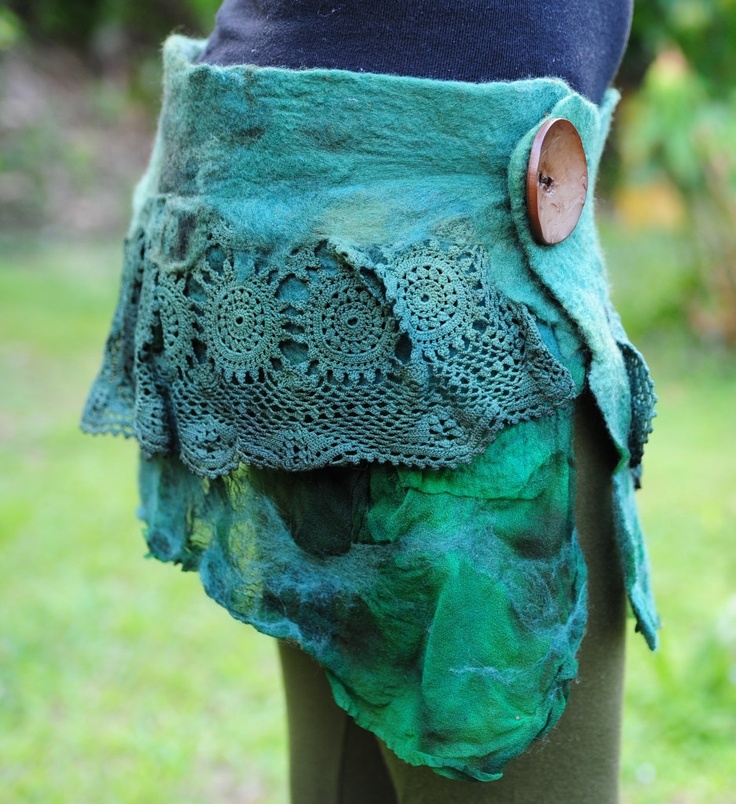 Felted Nuno Silk And Doily Belt