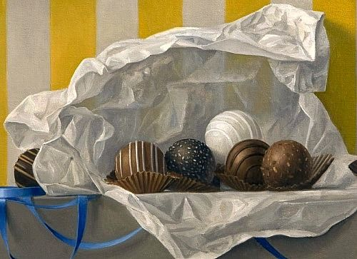 """There are four basic food groups: milk chocolate, dark chocolate, white chocolate, and chocolate truffles."" ~ author unknown (James Aponovich -  Still Life with Chocolate Truffles 2011)"