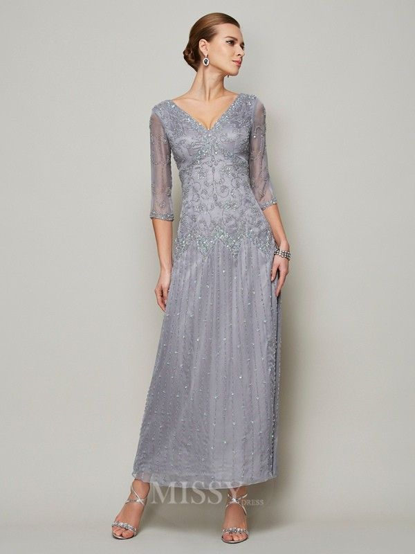 Sheath V-neck 1/2 Sleeves Elastic Woven Satin Mother Of The Bride Dress With Embroidery