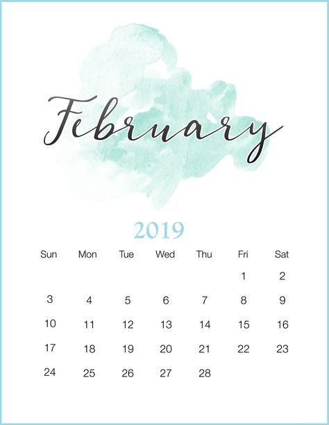 watercolor 2019 february printable calendar  february2019