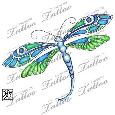 Marketplace Tattoo Emerald Deco Dragonfly #7559 | CreateMyTattoo.com