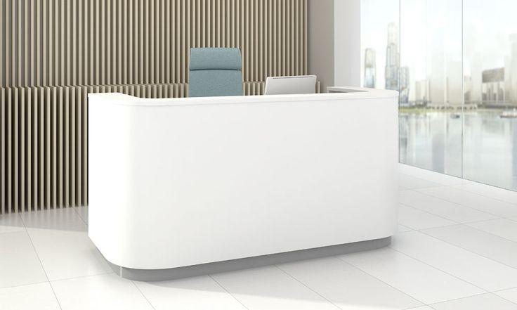 Cosy receptionsdisk har en mjuk och trevlig from med integrerat skrivbord.