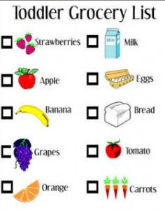 Take this with you the next time you go grocery shopping with your little ones! Make it a game to find them all on the list. toddler preschooler