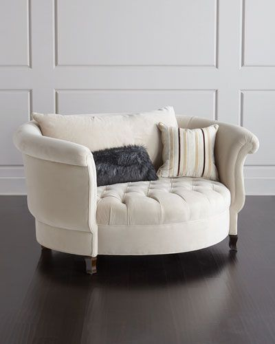 "#ONLYATNM Only Here. Only Ours. Exclusively for You. Handcrafted cuddle chair roomy enough for two. Alder wood frame with hand-painted finish. Polyester upholstery. 70""W x 54.5""D x 36""T; seat, 50.5""W"
