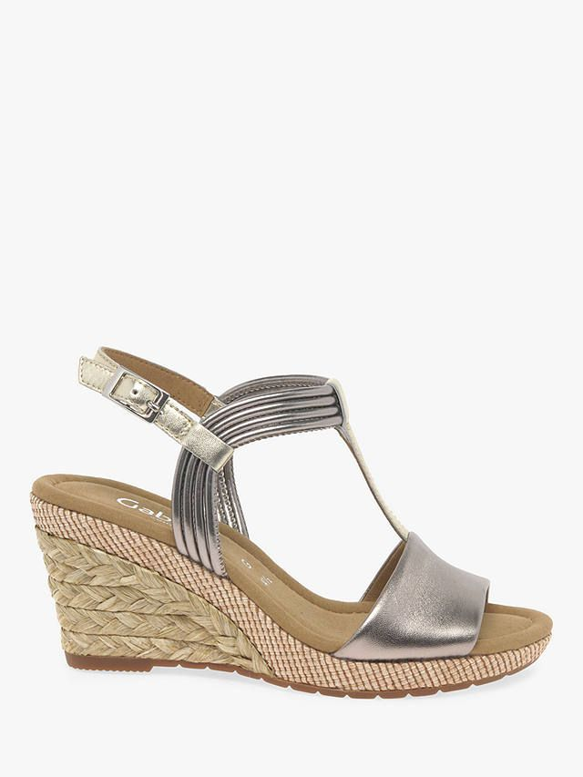86cf7227312 Gabor Jess Wide Fit Wedge Sandals, Pewter Leather in 2019   Sandals ...
