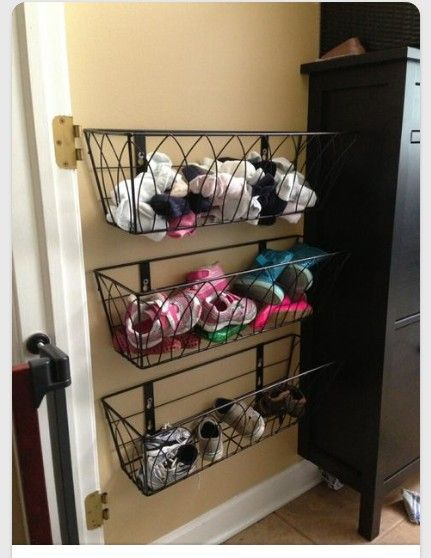 hanging shoe storage using hanging flower baskets