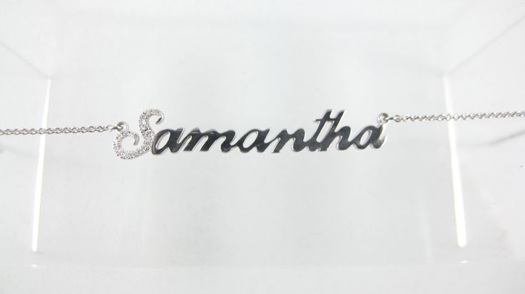 Script name necklace real 14kt white gold and diamond, cursive name necklace, handwriting name necklace - pinned by pin4etsy.com