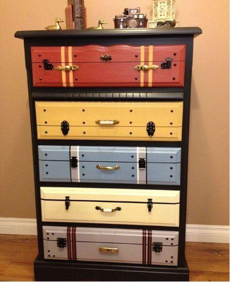 Cajonera imitaci n valijas maletas estantes repisa for Muebles cantero