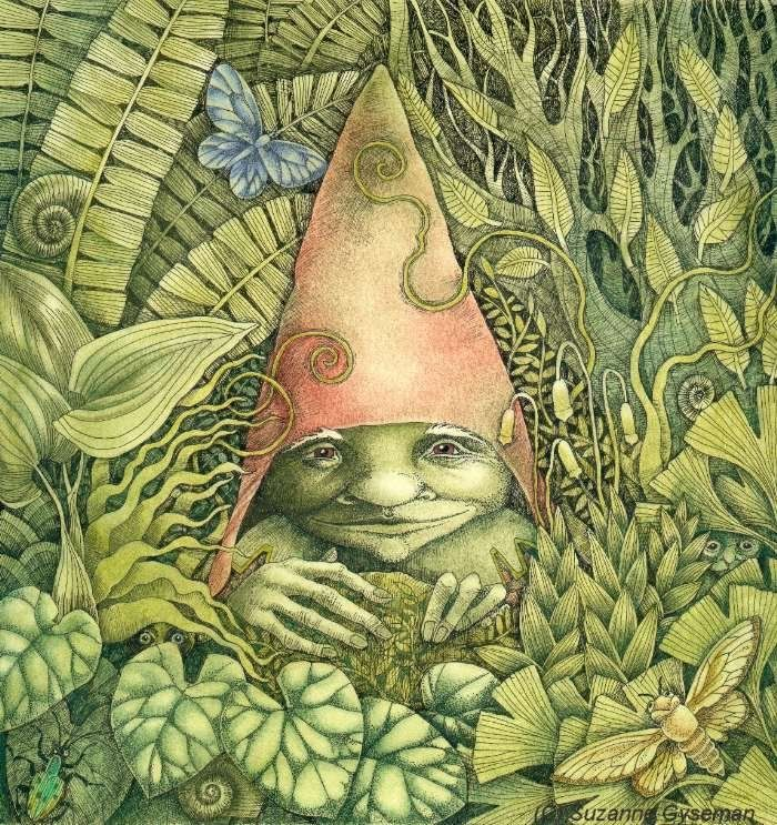 Hedgerow Gnome by Suzanne Gyseman - Fantasy art galleries at Epilogue.net - Fantasy and Sci-fi at their best
