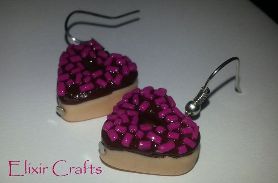 Yummy Food Donut Earrings Heart Chocolate Polymer Clay
